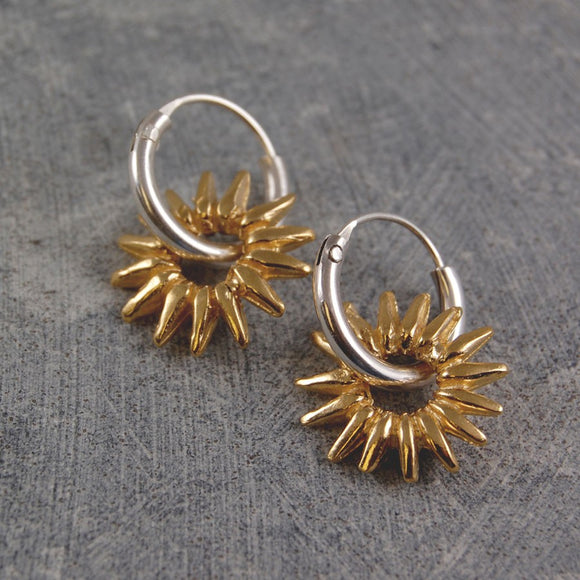 Sunray Small Gold Hoop Earrings