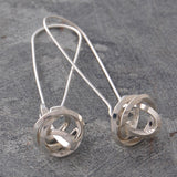 Angular Knot Silver Drop Earrings