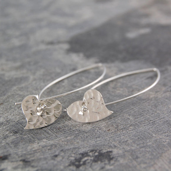 Ellipse Hammered Heart Silver Drop Earrings