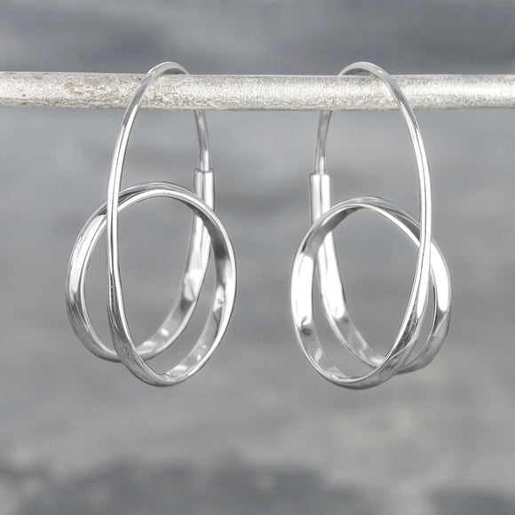 Double Loop Silver Hoop Earrings