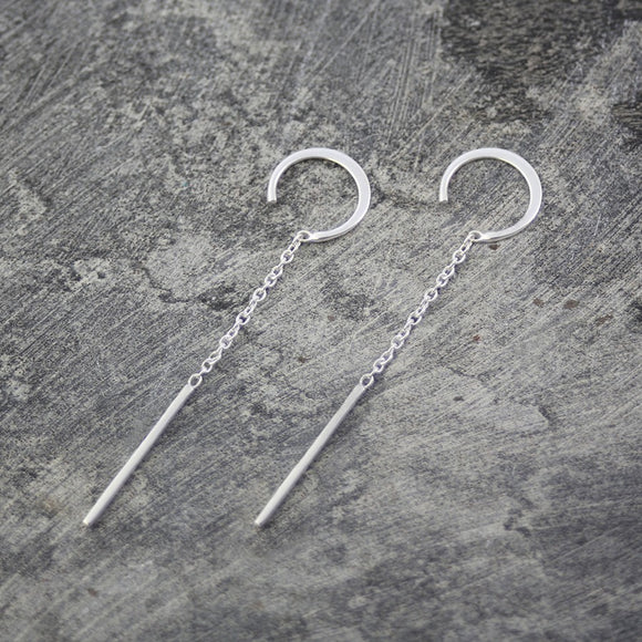 Silver Chain Long Drop Earrings
