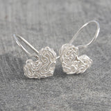 Mesh Silver Heart Drop Earrings