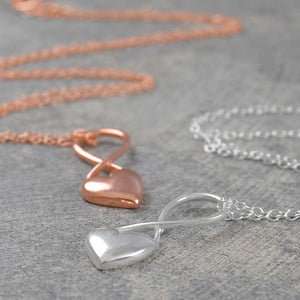 Heart Rose Gold Infinity Necklace