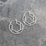 Round Geometric Silver Hoop Earrings