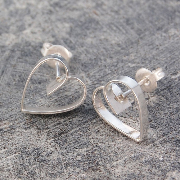 Silver Lace Heart Stud Earrings