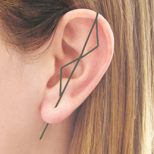 Double Triangle Oxidised Silver Ear Climbers
