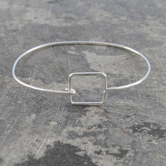 Silver Hinged Square Bangle