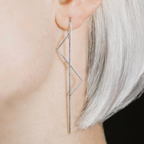Double Triangle Silver Ear Climbers