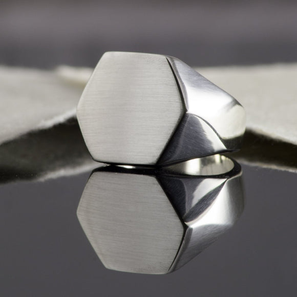 Men's Silver Solid Hexagonal Signet Ring