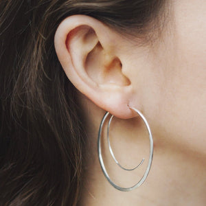 Silver Spiral Statement Hoop Earrings