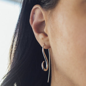 Silver Drop Spiral Hook Earrings