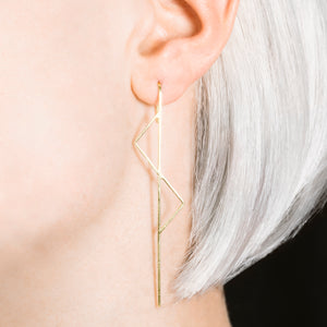Double Triangle Gold Ear Climbers