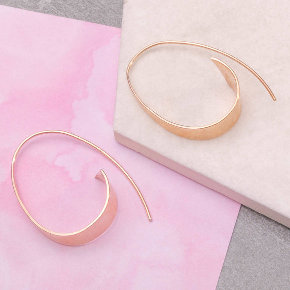 Curled Ribbon Rose Gold Hoop Earrings