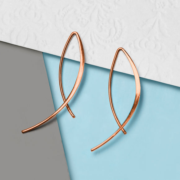 Rose Gold Wishbone Wire Drop Earrings