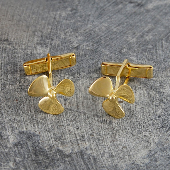 Gold Propeller Nautical Cufflinks