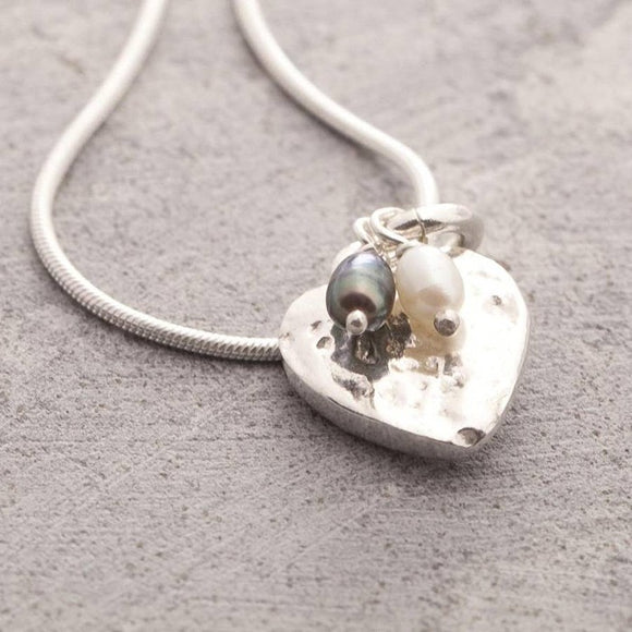 Organic Silver Heart Pendant Necklace with Black and White Pearls