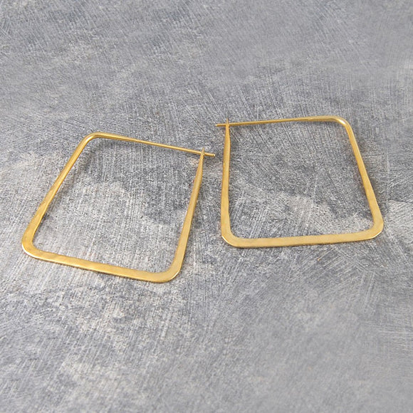 Small Square Hammered Gold Hoop Earrings