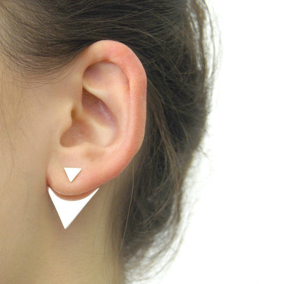 Geometric Silver Triangle Ear Jacket
