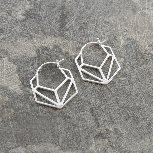Hexagonal Geometric Silver Hoop Earrings