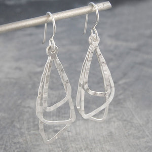 Triple Triangle Silver Dangle Earrings