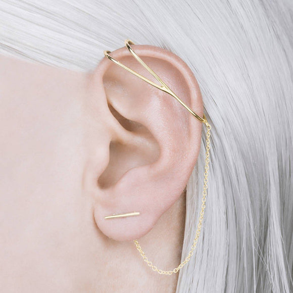 Gold Chain Ear Cuff Earrings