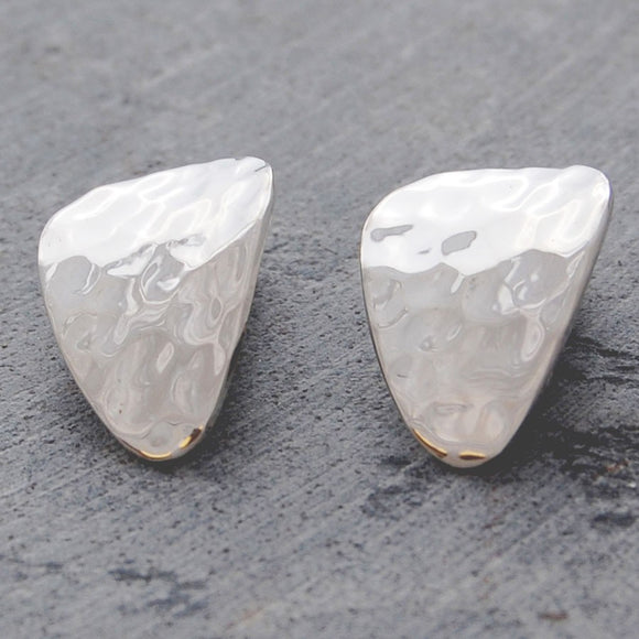 Textured Petal Silver Clip On Stud Earrings