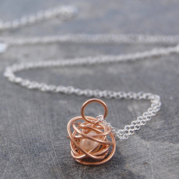 Caged Pearl Rose Gold Chain Necklace