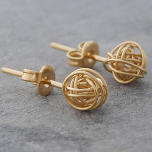 Tiny Nest Gold Stud Earrings
