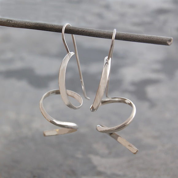 Curly Silver Drop Earrings