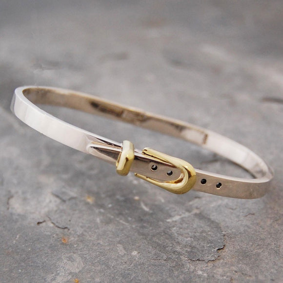 Belt Gold and Silver Hinged Bangle