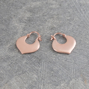 Designer Rose Gold Heart Hoop Earrings