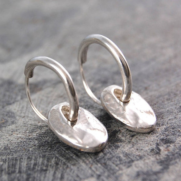Organic Pebble Silver Hoop Earrings