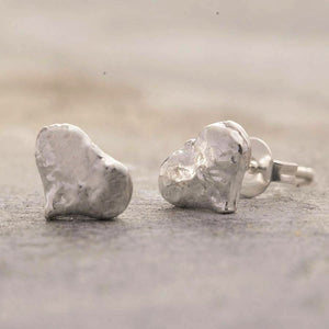 Textured Silver Heart Stud Earrings