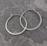 Hammered Silver Small Hoop Earrings