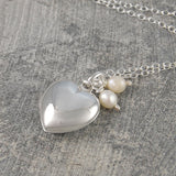 Pearl and Silver Heart Locket Necklace