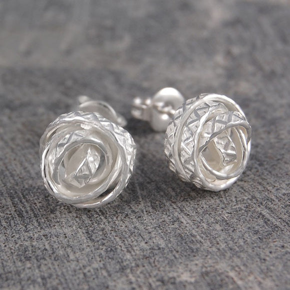 Textured Silver Nest Stud Earrings