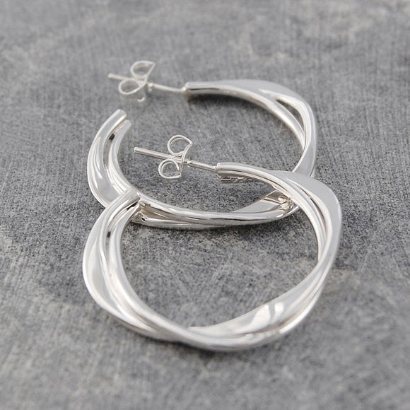 Interwoven Silver Hoop Earrings