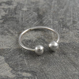 Adjustable Double Ball Silver Ring
