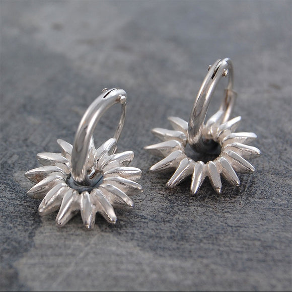 Sunray Silver Hoop Earrings