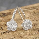 Rose Flower Silver Drop Earrings