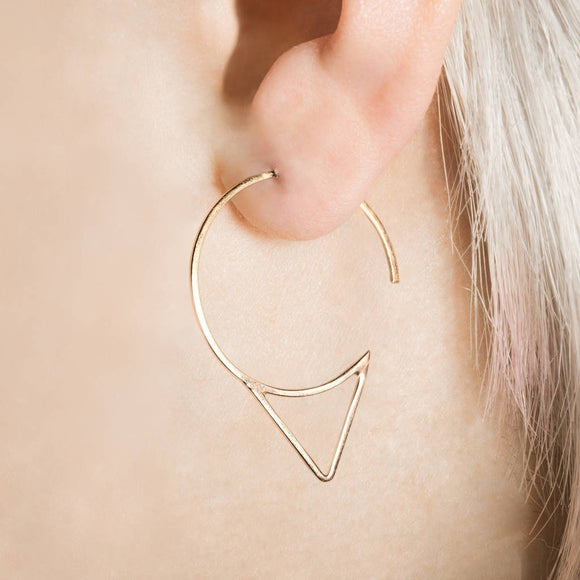 Rose Gold Spike Hoop Earrings