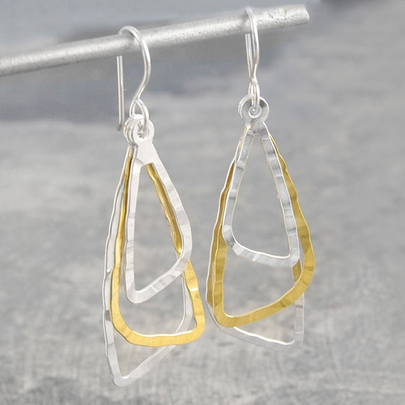 Triple Triangle Silver and Gold Dangle Earrings