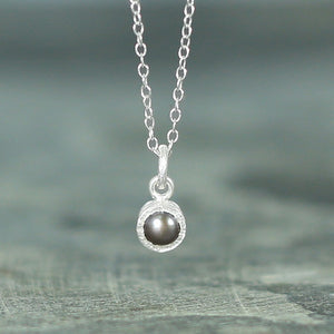 Textured Silver Dark Pearl Necklace