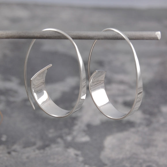 Curled Ribbon Silver Hoop Earrings