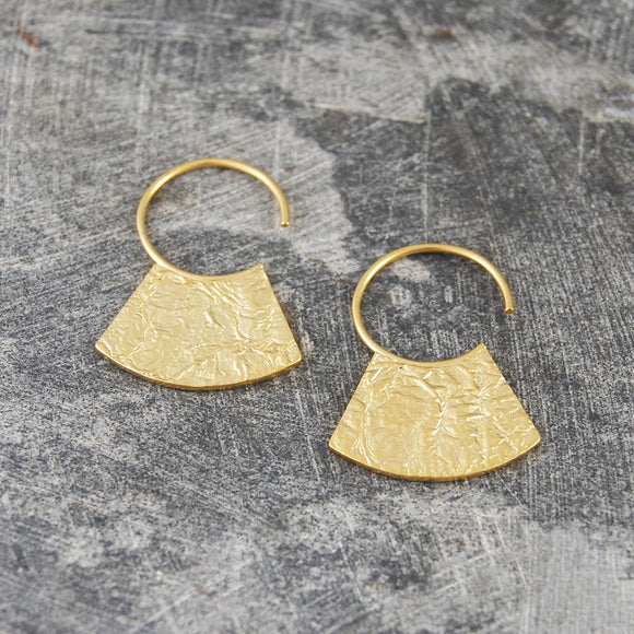 Hammered Grecian Gold Hoop Earrings