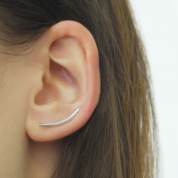 Curved Silver Bar Ear Cuff