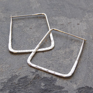 Silver Small Square Hammered Hoop Earrings