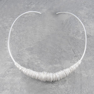 Coiled Silver Wire Chunky Choker Necklace