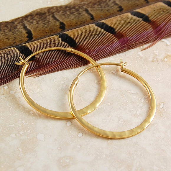 Small Hammered Gold Hoop Earrings