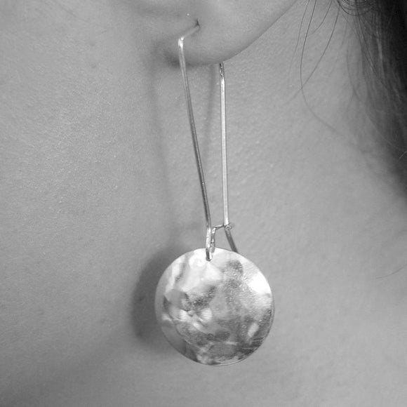 Hammered Disc Silver Long Drop Earrings